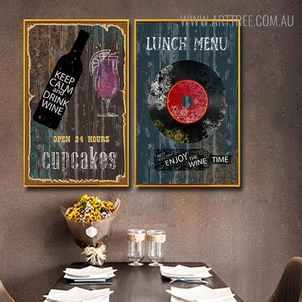 Lunch Menu Vintage Abstract Quotes Painting Print for Restaurants Wall Decor