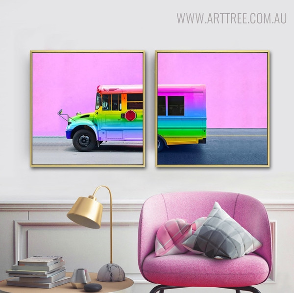 Rainbow Bus Modern Watercolor Painting Print for Living Room Decor