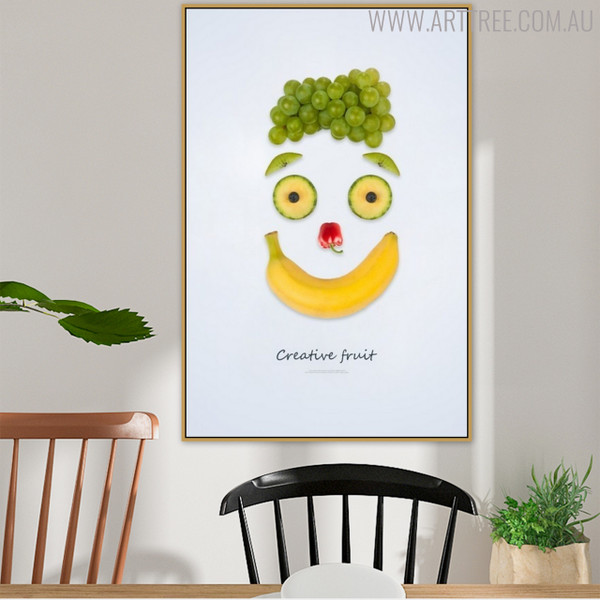 Smiley Face Abstract Creative Painting Print for Dining Room Wall Garnish