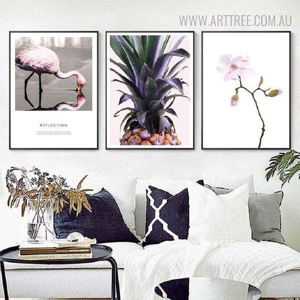 Flamingo Reflection Bird Nordic Floral Quotes Painting Print for Living Room Decor