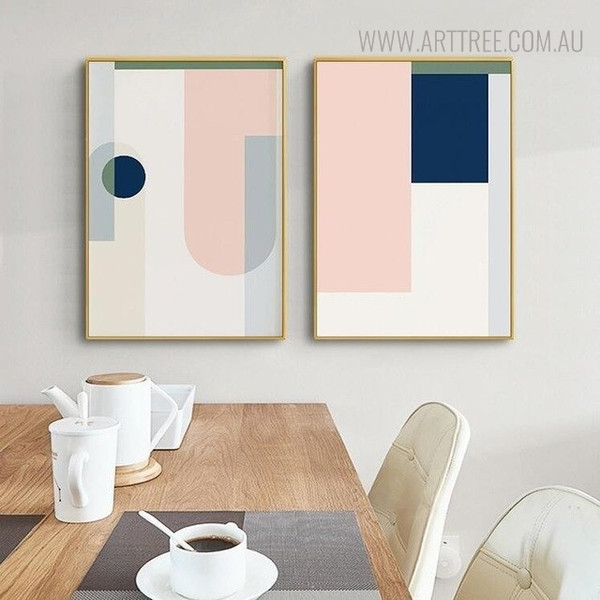 Gaudy Shade Abstract Geometric Scandinavian Painting Print for Dining Room Decor
