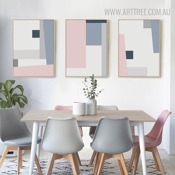 Hued Shade Abstract Geometric Scandinavian Painting Canvas Print for Dining Room Decoration