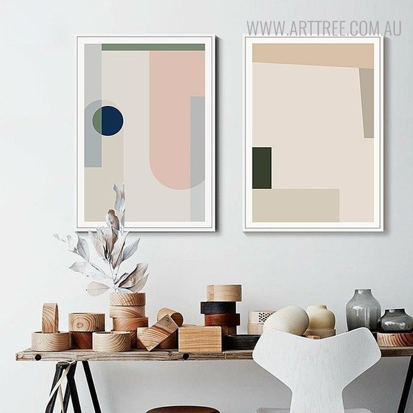 Colorful Shades Abstract Geometric Scandinavian Painting Print for Lounge Room Wall Decor