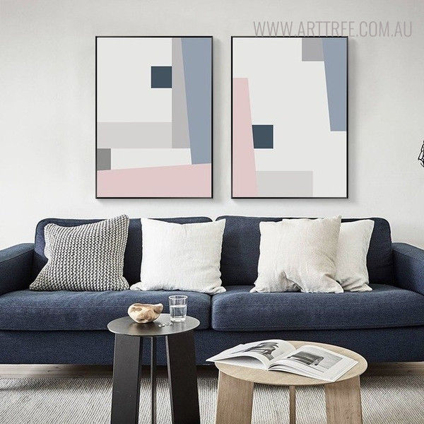 Abstract Shades Geometric Scandinavian Painting Canvas Print for Living Room Disposition