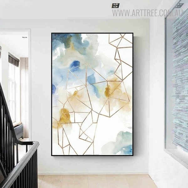 Fume Effect Abstract Watercolor Geometric Painting Print for Entryway Wall Ornament