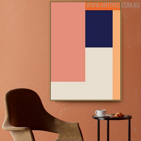 Orange Shades Abstract Geometric Scandinavian Painting Print for Living Room Decor