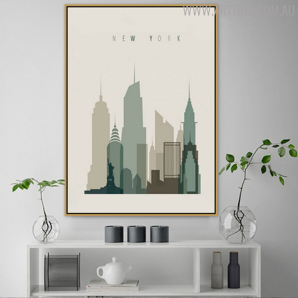 New York Abstract Cityscape Painting Print for Living Room Decor