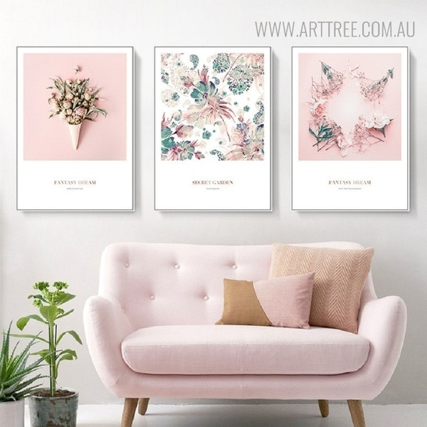 Secret Garden Modern Botanical Quotes Painting Canvas Print for Living Room Decor
