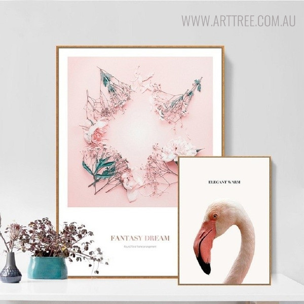 Elegant Warm Modern Botanical Bird Quotes Painting Canvas Print for Living Room Ornament