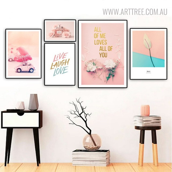 Coco Perfume Modern Floral Quotes Painting Print for Study Room Wall Ornament