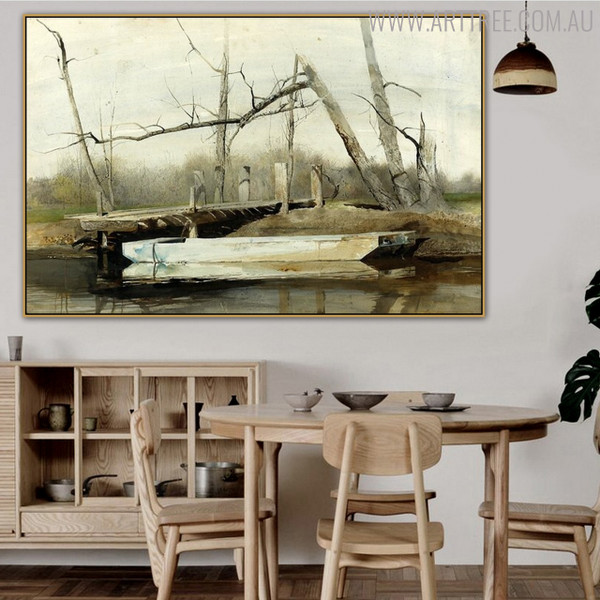Riverboat Famous Artists Still Life Landscape Painting Print for Dining Room Wall Decor