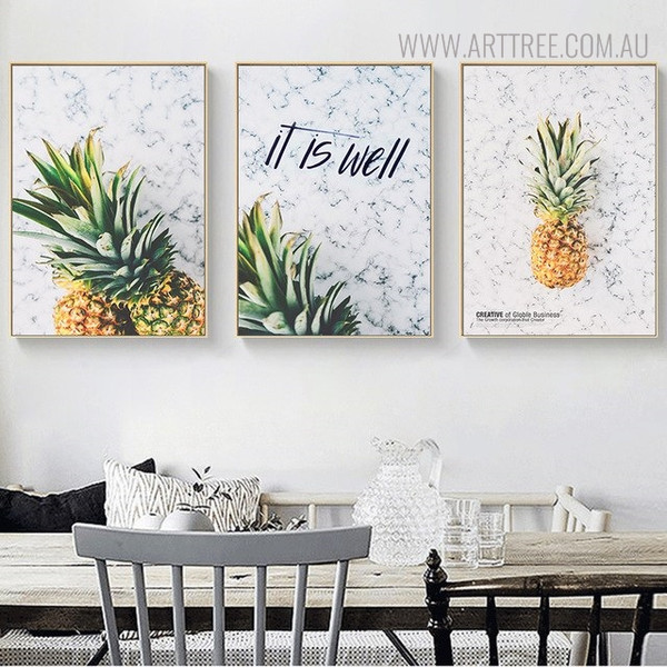 Pineapple Quotes Modern Painting Print for Dining Room Decor