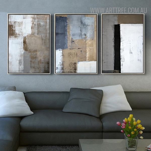 Dark Shades Vintage Abstract Painting Print for Living Room Ornament