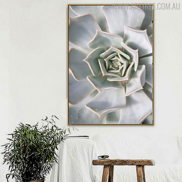 White Cactus Botanical Modern Scandinavian Canvas Print for Room Wall Ornament