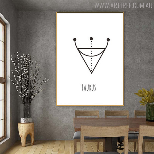Taurus Abstract Geometric Minimalist Painting Canvas Print for Dining Room Wall Decor