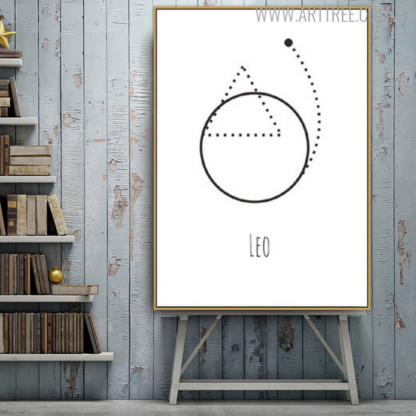 Leo Abstract Geometric Minimalist Painting Canvas Print for Living Room Wall Decoration