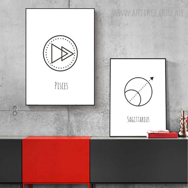 Pisces Sagittarius Abstract Geometric Minimalist Painting Print for Room Wall Getup