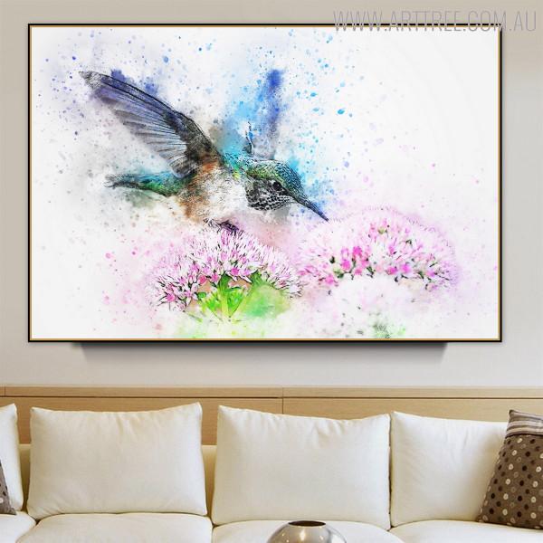 Flying Hummingbird Floral Bird Handmade Canvas Artwork for Living Room Decor