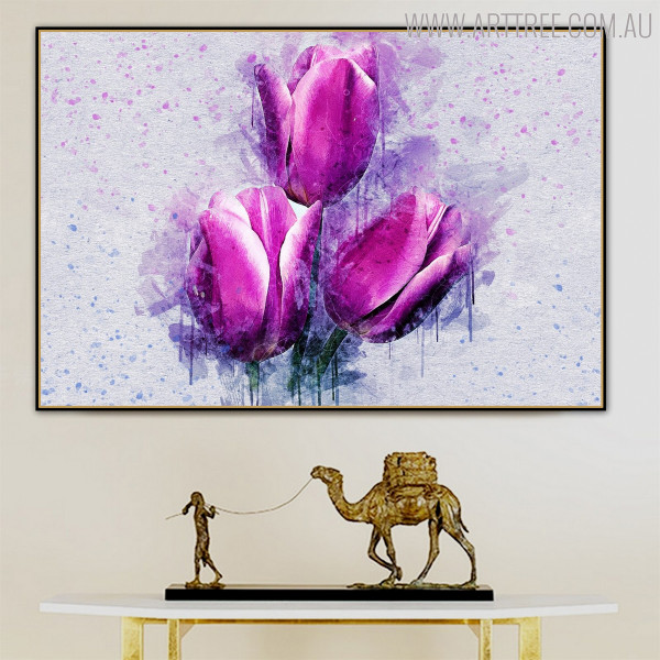 Purple Tulip Floral Handpainted Canvas for Home Wall Ornament