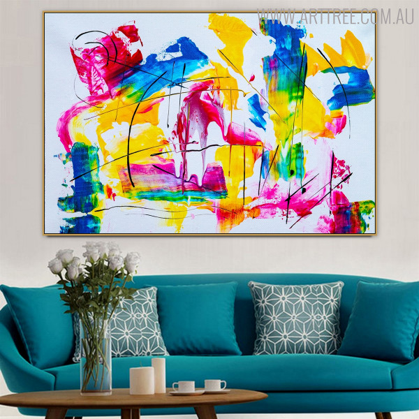 Hue Shades Abstract Handmade Oil Painting for Home Wall Outfit