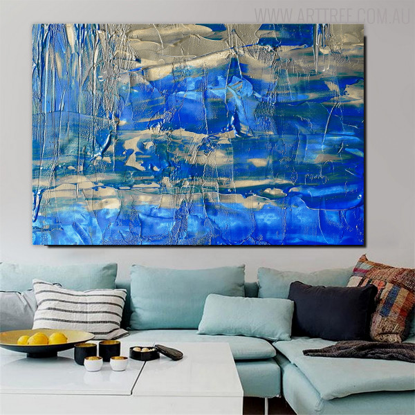 Blue Hue Shade Abstract Oil Painting for Room Wall Decor