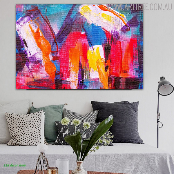 Chequered Effigy Abstract Acrylic Painting for Living Room Wall Outfit