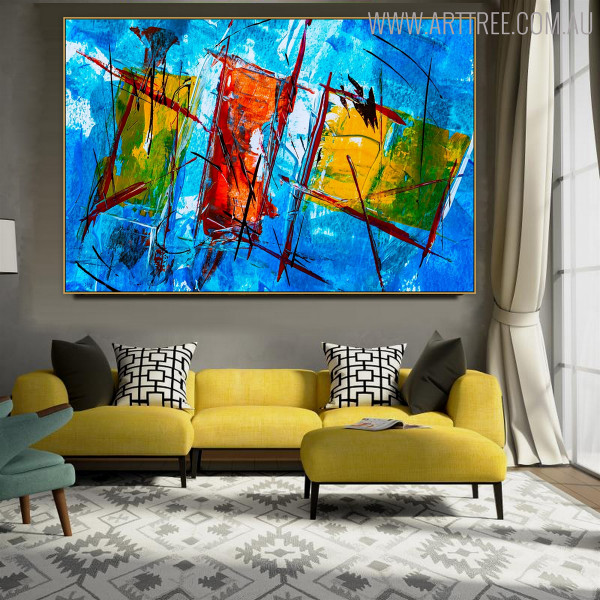 Abstract Shapes Oil Likeness for Lounge Room Wall Outfit