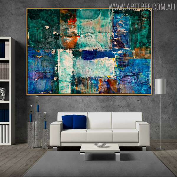 Bluish Abstract Texture Handmade Oil Portmanteau for Interior Wall Garniture