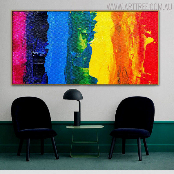 Abstract Columns Framed Texture Canvas Resemblance for Living Room Wall Decoration