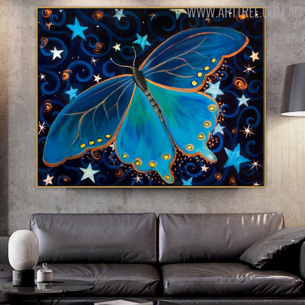 Starry Butterfly Animal Modern Handmade Canvas Art for Interior Wall Decoration