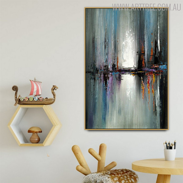 Calico Art Abstract Handmade Oil Smudge for Room Wall Disposition