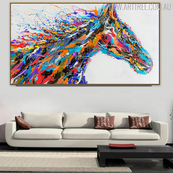 Horse Face Abstract Animal Modern Handmade Canvas Artwork for Interior Wall Flourish
