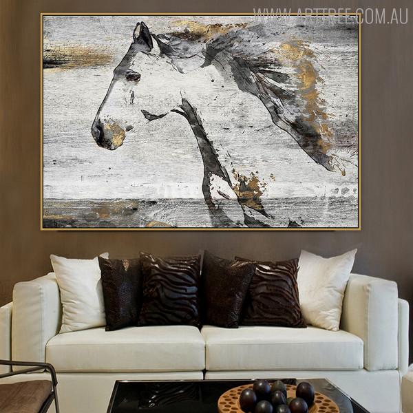 Horse Animal Framed Handmade Oil Portrait for Interior Wall Adornment