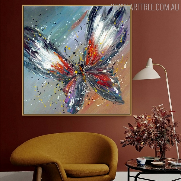 Butterly Animal Framed Oil Portraiture on Canvas for Interior Wall Decoration