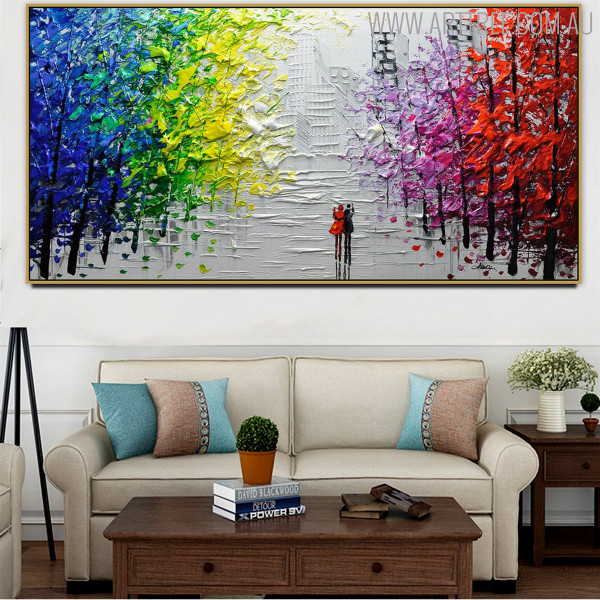 Buildings Modern Abstract Cityscape Texture Knife Effigy for Living Room Wall Adornment