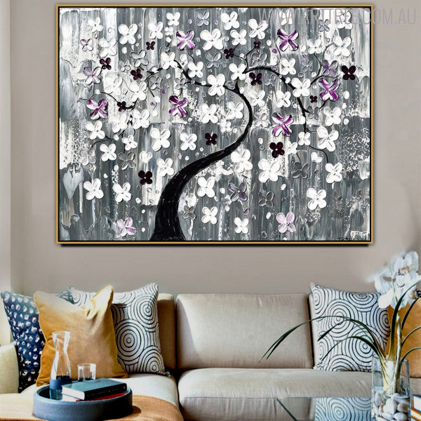 Arbor Floral Modern Heavy Texture Acrylic Painting for Diy Wall Decor