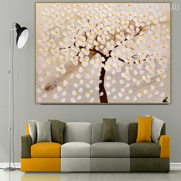 Broken Petals Modern Heavy Texture Handmade Oil Effigy on Canvas for Floral Interior Design