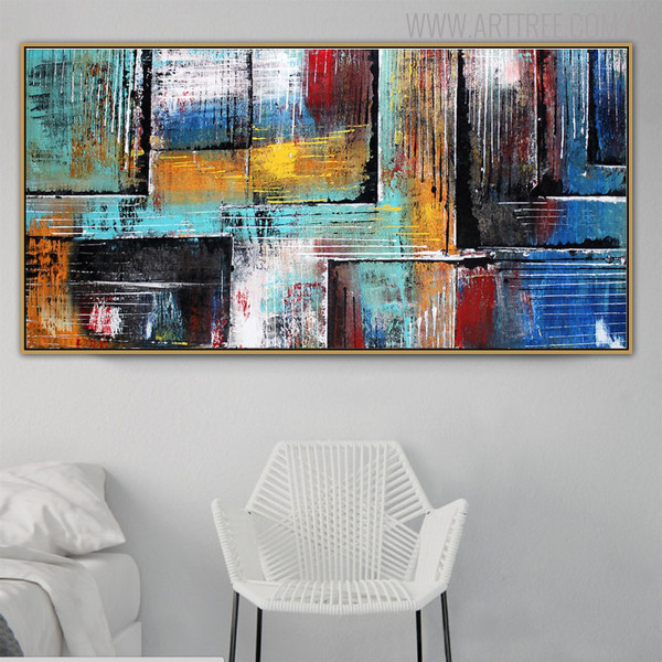 Abstract Boxes Framed Texture Handpainted Canvas for Interior Decoration