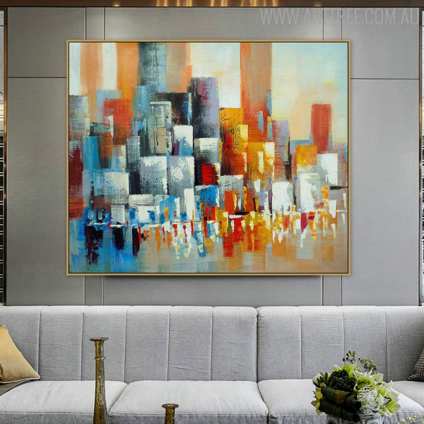 Hued Boxes Abstract Framed Heavy Texture Knife Artwork for Lounge Room Wall Adornment