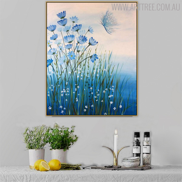 Flowers Modern Floral Handmade Oil Effigy on Canvas for Living Room Wall Getup
