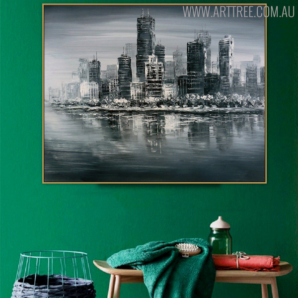 Monochrome Town Modern Cityscape Heavy Texture Palette Knife Painting for Wall Decor Design