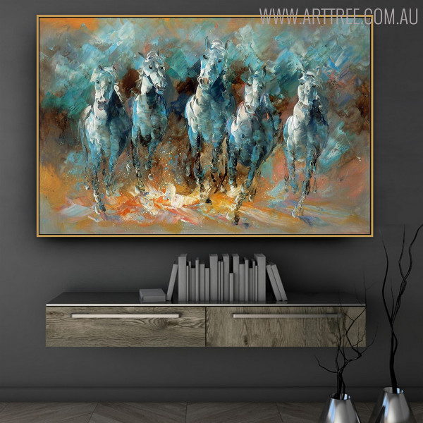 Horses Animal Framed Heavy Texture Knife Portrayal for Modern Study Room Wall Outfit