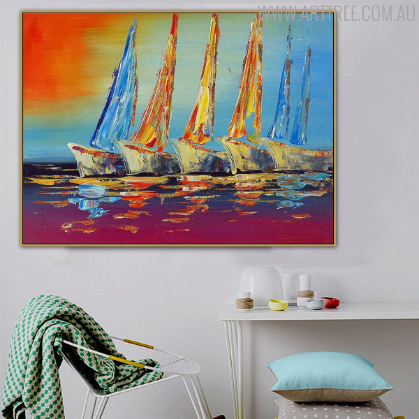 Boats Modern Abstract Palette Knife Portraiture for Lounge Room Wall Drape