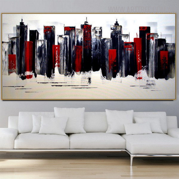 Edifices Cityscape Heavy Texture Knife Artwork for Interior Wall Decoration