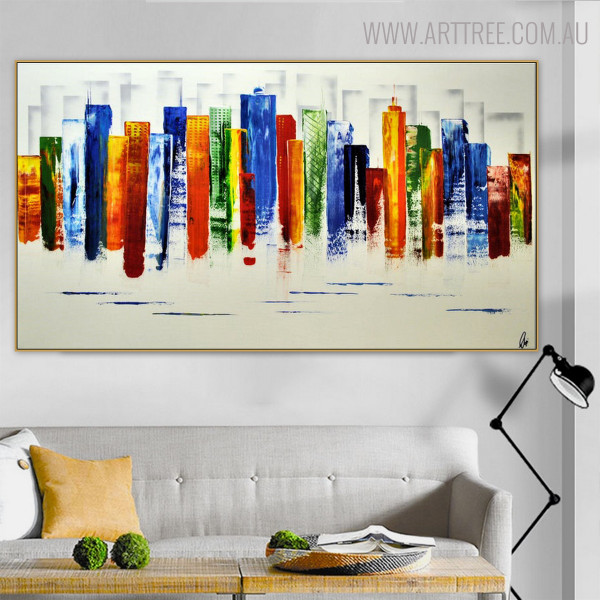 Calico Buildings Abstract Modern Cityscape Heavy Texture Handmade Oil Effigy on Canvas for Room Wall Outfit