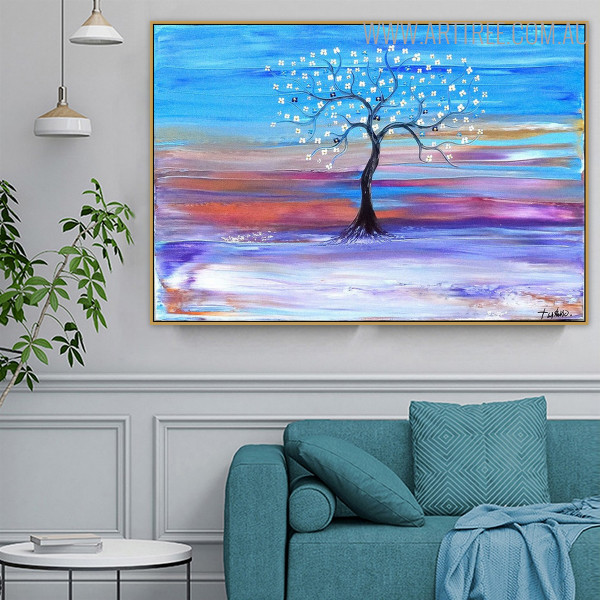 Colorful Land Floral Modern Oil Resemblance on Canvas for Home Wall Decor