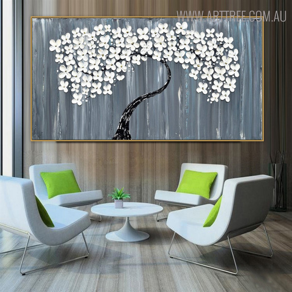 Dapple Blooms Floral Modern Heavy Texture Knife Vignette on Canvas for Living Room Wall Outfit
