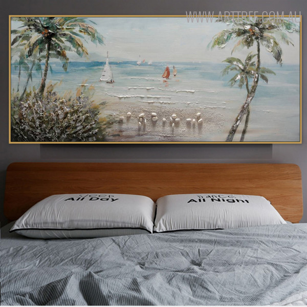Beach Modern Panoramic Seascape Handmade Nature Likeness for Room Wall Disposition