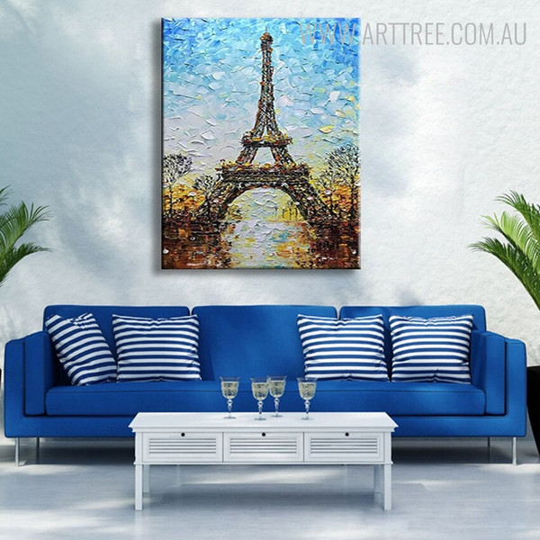 Eiffel Tower Artwork Abstract Framed Cityscape Texture Knife Effigy for Lounge Room Wall Ornament