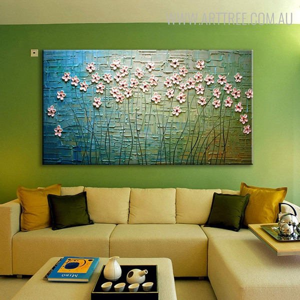 Pink Flowers Abstract Floral Palette Knife Painting for Wall Decoration